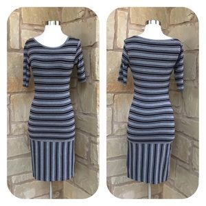 LuLaRoe Julia Black Gray Striped T-Shirt Dress XXS
